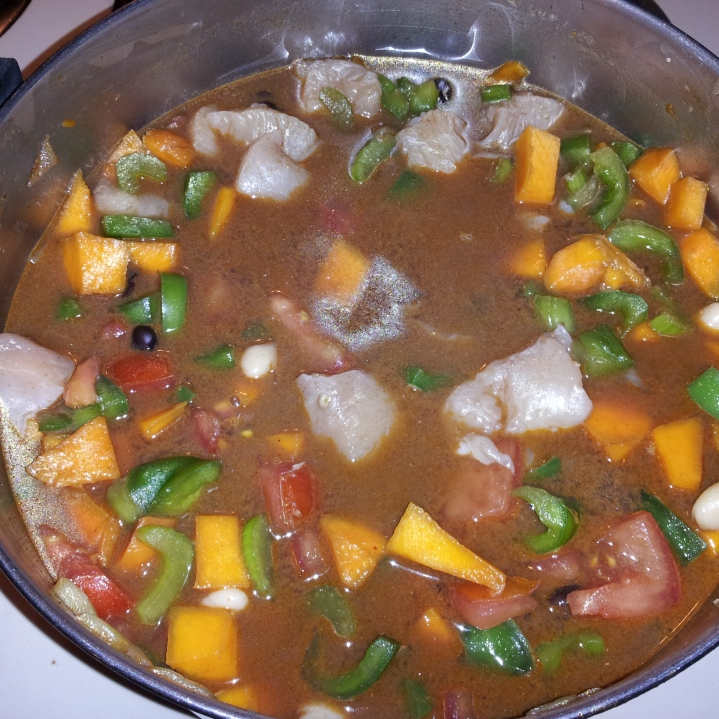 Step 5: Add the wine and let heat/boil for 1 minute. Then add the stock, chicken and beans. Let simmer for 30-45 minutes or when the squash is tender.